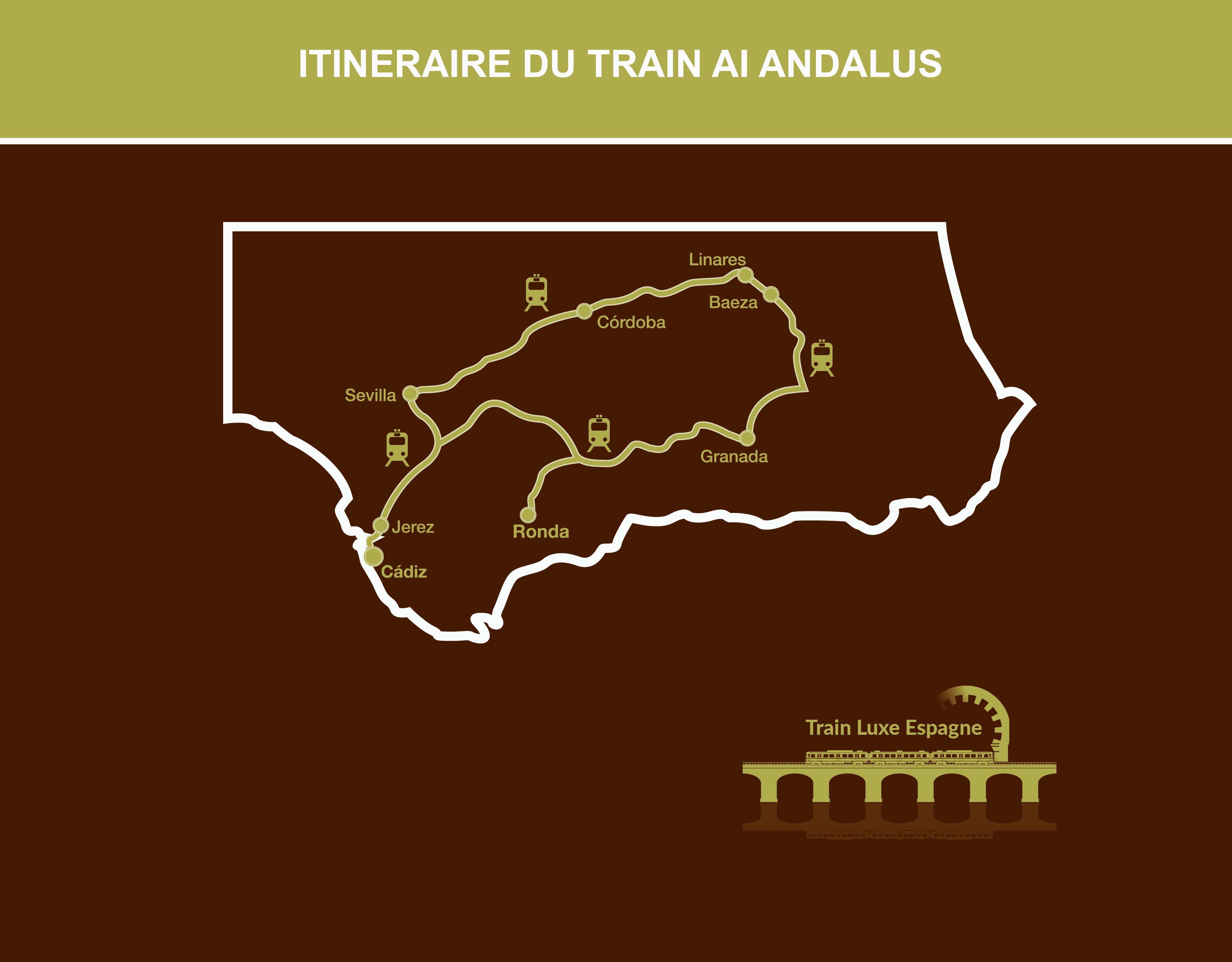 Itinéraire carte du circuit en Train Al Andalus de Saint-Jacques de Compostelle à Séville