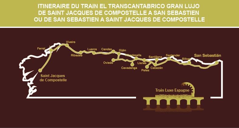 Itinéraire carte du circuit en Train El Transcantabrico Gran Lujo de San Sebastian à Saint-Jacques de Compostelle